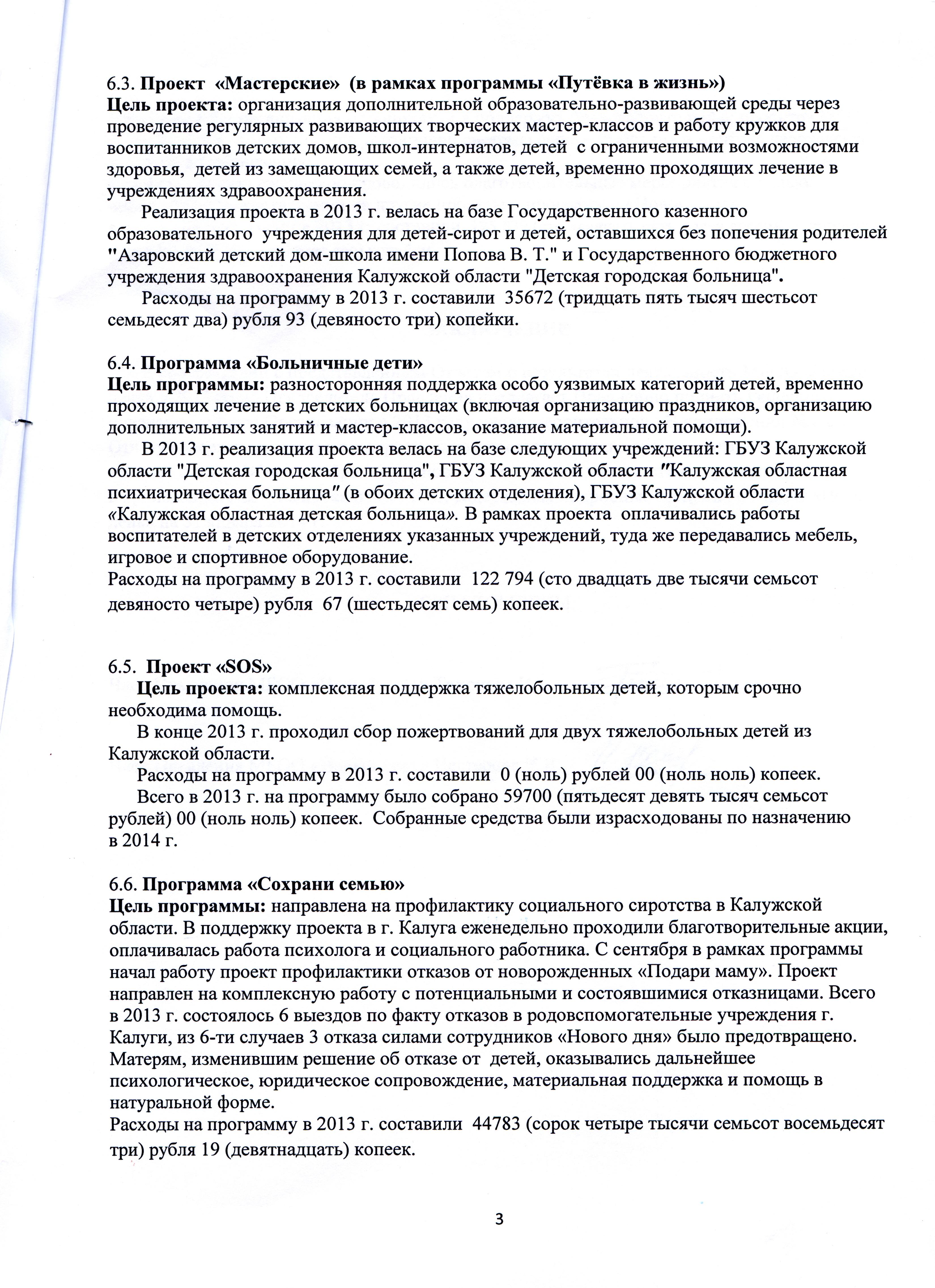"""Отчёт МБОО """"Новый день"""" в 2013 году документ 3"""